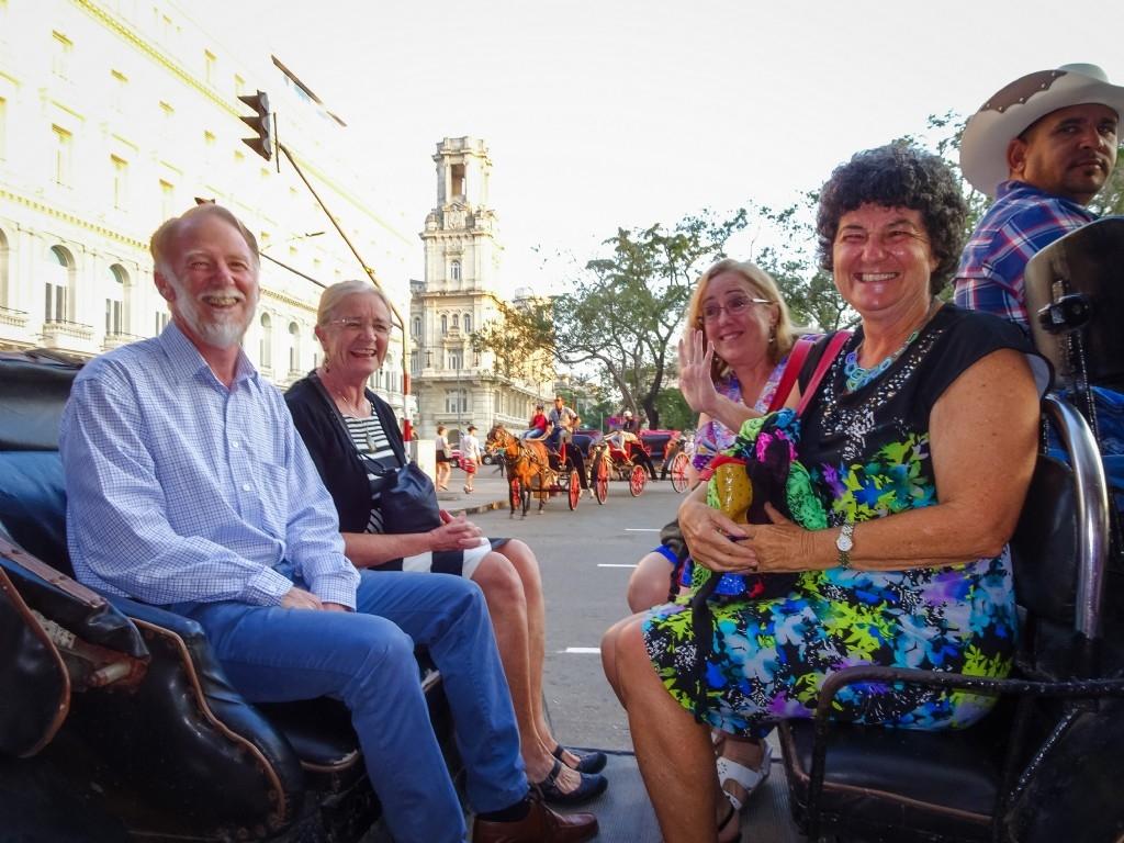 Horse & carriage ride to farewell dinner, Havana