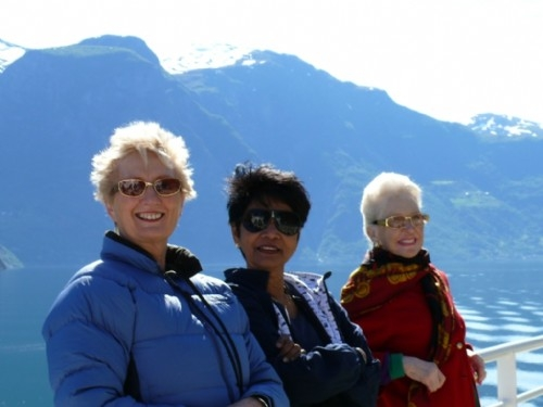 The ladies enjoying Norwegian fjords