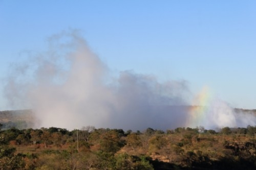 Victoria Falls spray from the ground